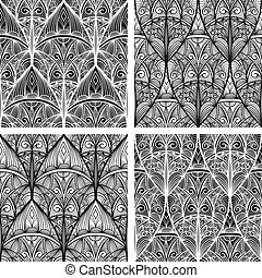 vector hand drawn seamless eastern floral patterns,