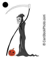 Death with pumpkin Halloween white vector background