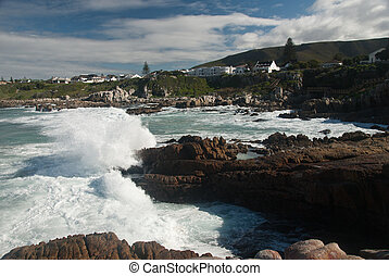 Crashing waves - Views of the waves crashing onto the rocks,...