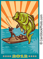 Fishing Poster Calendar 2012 Largemouth Bass - poster...