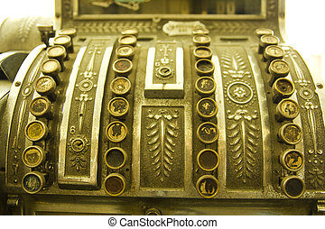 Cash register Detail of an old cash register, charge in...