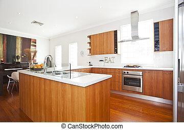 modern kitchen with white walls