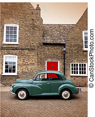 Morris Minor - Morris minor classic vintage car in village...