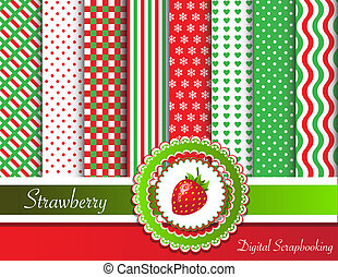 Strawberry digital scrapbooking - Digital scrapbooking paper...