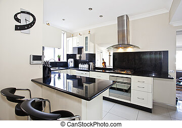 modern kitchen with white walls