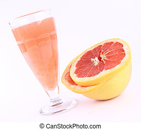 Grapefruit juice and fruit - Freshly squeezed out Grapefruit...