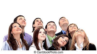 closeup, Retrato, muitos, homens, mulheres, sorrindo, olhar,...