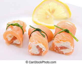 salmon roll and cheese