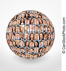 ball and people isolated over white background