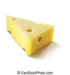 A wedge of cheese with holes.