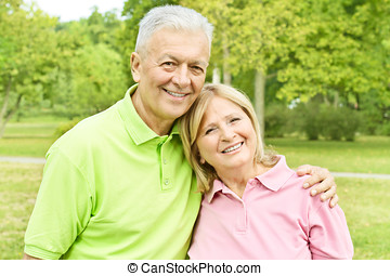 romantic elderly couple - Romantic elderly couple in the...