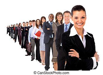negócio, homem, seu, equipe, isolado, sobre, branca,...