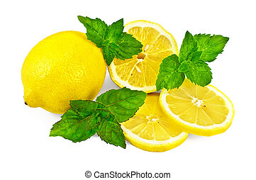 Lemons and mint - Whole and half a lemon, two cloves of...