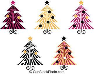 Retro Christmas Trees collection isolate on white -...