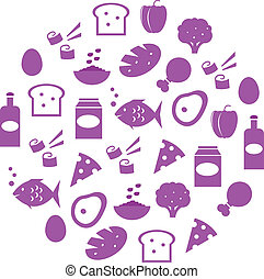Purple abstract globe with food icons isolated on white