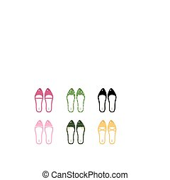 Vector collection of retro vector shoes isolated on white