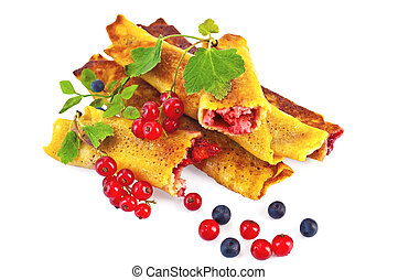 Pancakes with blueberries and red currants - Pancakes with...