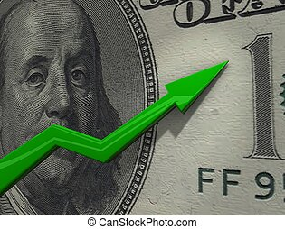 Dollar up - 3d rendering, conceptual image, Rising chart of...
