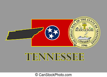 Tennessee state map, flag, seal and name.