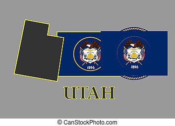 Utah state map, flag, seal and name.