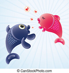 fish in love - Fish in love Romantic feelings concept...