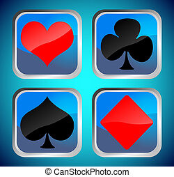 Blue buttons with poker card symbols, vector illustration