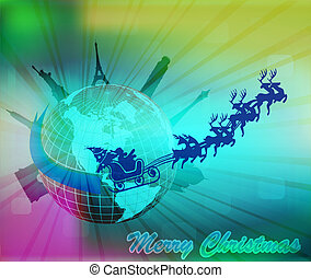 Santa in his slegh with rendeer - Santa in his slegh with...
