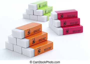 The pyramid of erasers - The eraser photoed in background...