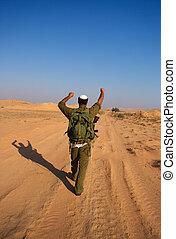 Israeli soldiers excersice in a desert - israeli soldiers...