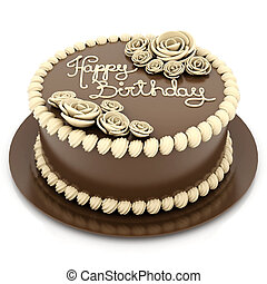 Beautiful wedding cake - A beautiful wedding cake on a white...
