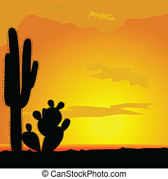 cactus black vector in desert illustration of beauty nature...