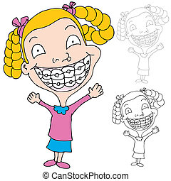 Girl Wearing Braces - An image of a girl wearing braces.