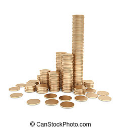 gold coin stack isolated