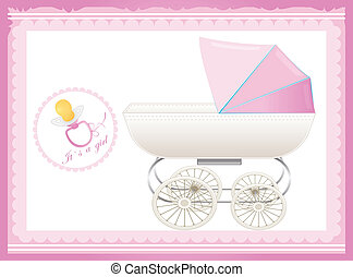 greeting card with baby stroller