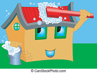 Wash cartoon house - Illustration of a cartoon house with...
