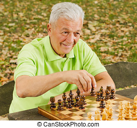 elderly man playing chess in the park