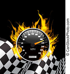 Speedometer in Fire - Racing Background with burning...
