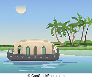 kerala backwaters - an illustration of a keralan houseboat...