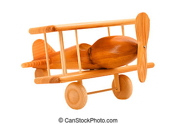toy wooden plane - object on white - toy wooden plane close...