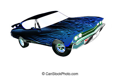 Blue Flamin Chevelle - This is a vector made in illustrator...
