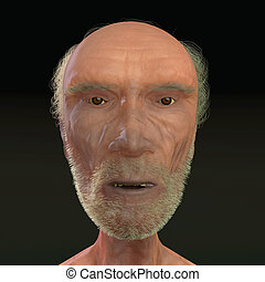 Men 3D face wiew on black background - Old men 3D face wiew...