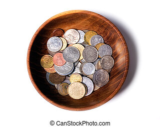 European bowl - Wooden bowl with old European coins...