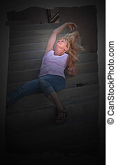 Middle Aged Blond Hair Woman Relaxing on Stairs - This...