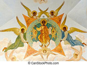Trinity Sergius Lavra - mural in the Trinity Sergius Lavra...