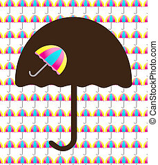 Backround with umbrellas - White background filled with...