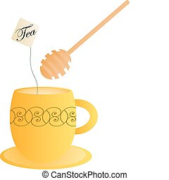 Orange tea cup with a honey spoon