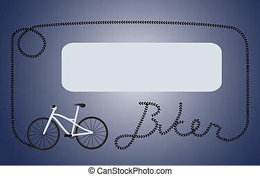 Biker dark blue frame - Frame formed by tyre print of a...