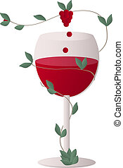 Red wine with a wine grapes - Transparent wine glass with a...