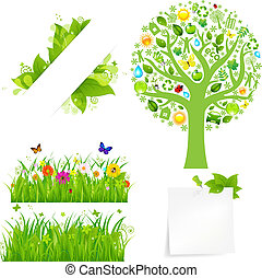 Green Grass With Flowers And Tree, Isolated On White...