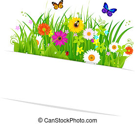 Paper Sticky With Grass And Flowers, Isolated On White...